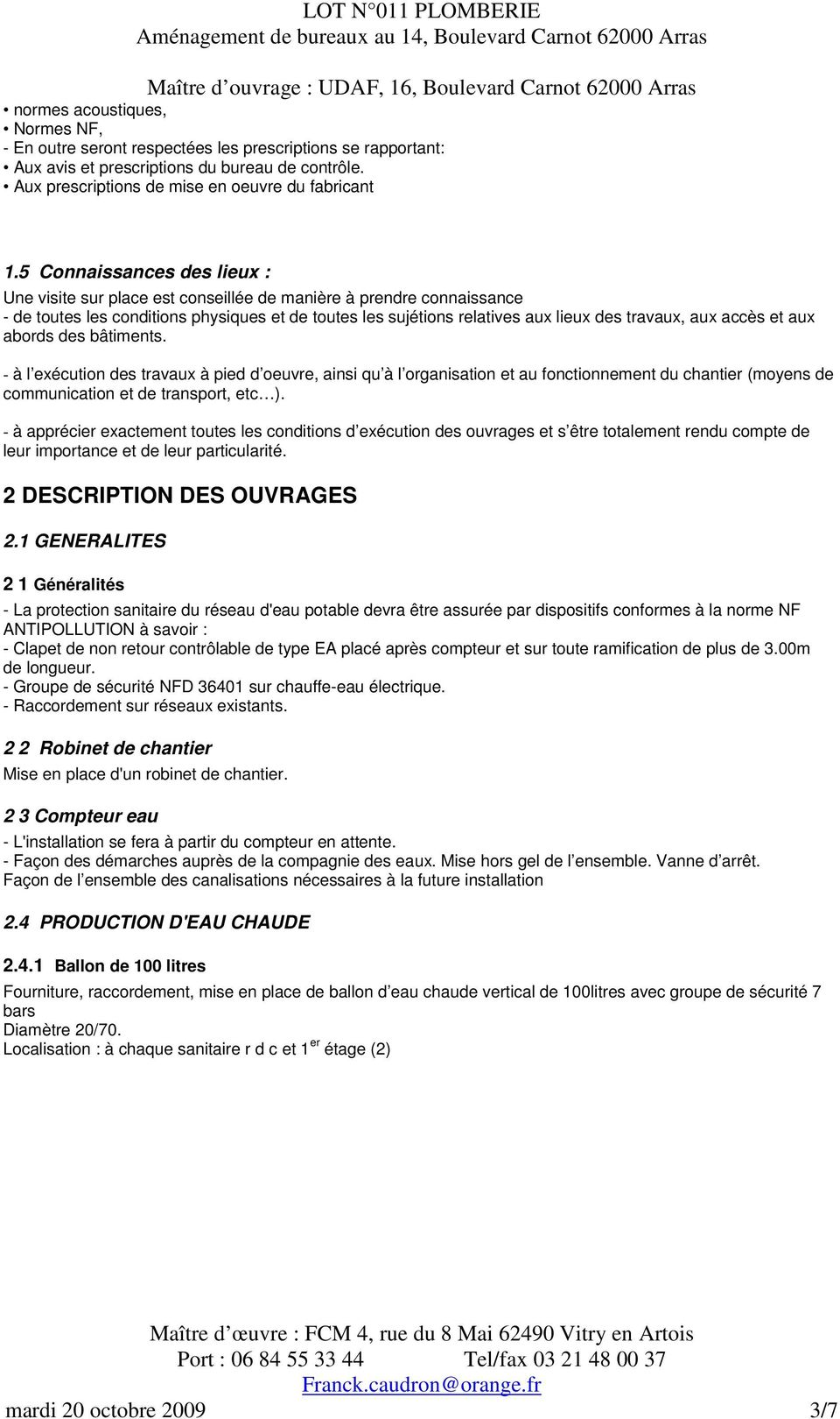 Dossier Dce Cctp Plomberie Pdf