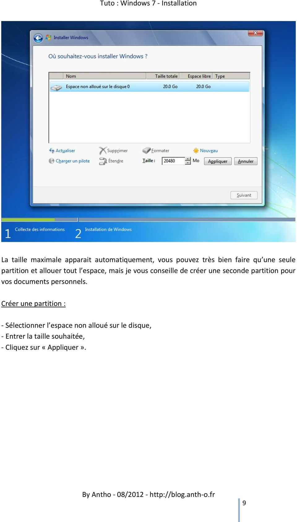 seconde partition pour vos documents personnels.