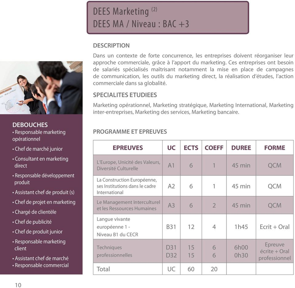 dans sa globalité. SPECIALITES ETUDIEES Marketing opérationnel, Marketing stratégique, Marketing International, Marketing inter-entreprises, Marketing des services, Marketing bancaire.