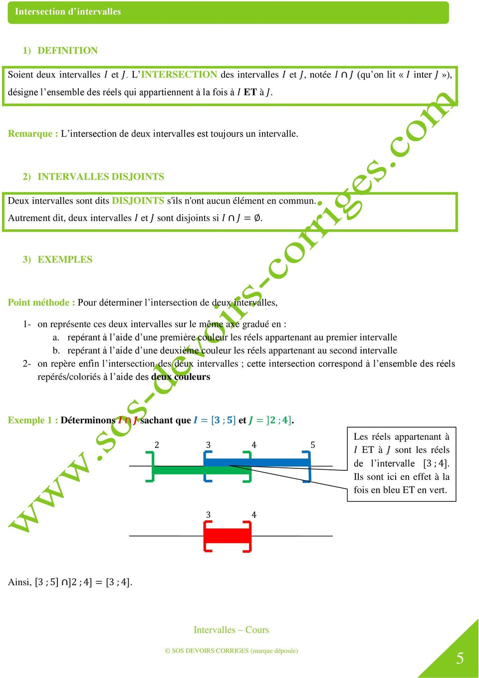 998f285aa5a4 Intervalles Cours. Intervalles Cours. SOS DEVOIRS CORRIGES (marque ...