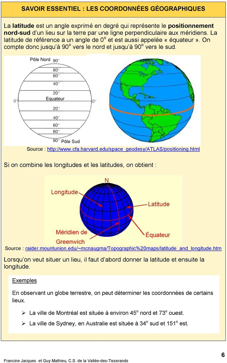 edu/space_geodesy/atlas/positioning.html Si on combine les longitudes et les latitudes, on obtient : Source : raider.mountunion.edu/~mcnaugma/topographic%20maps/latitude_and_longitude.