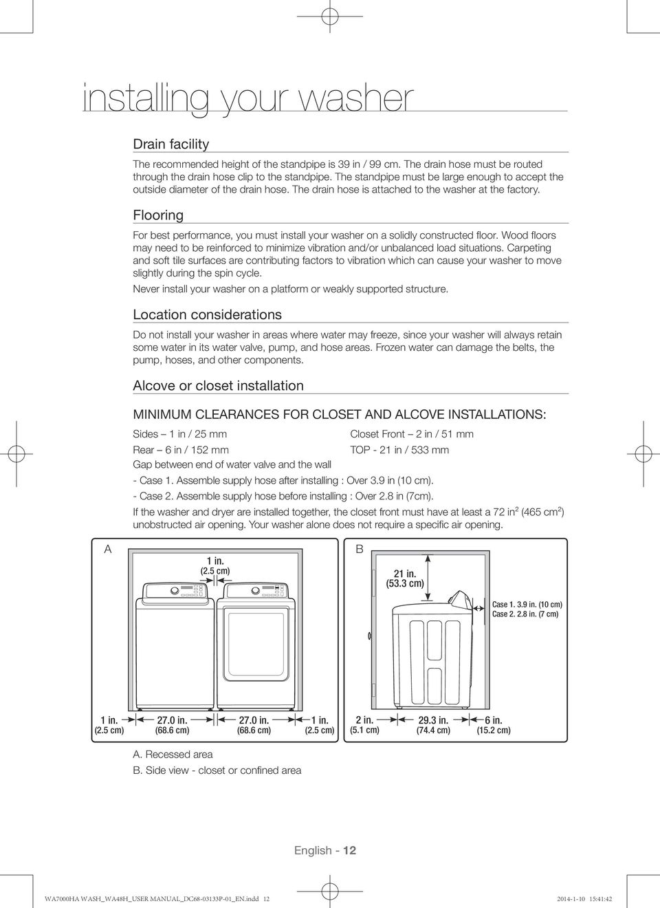 Washing Machine User Manual Imagine The Possibilities Pdf Drain Hose Additionally Wiring Diagram Flooring For Best Performance You Must Install Your Washer On A Solidly Constructed Floor