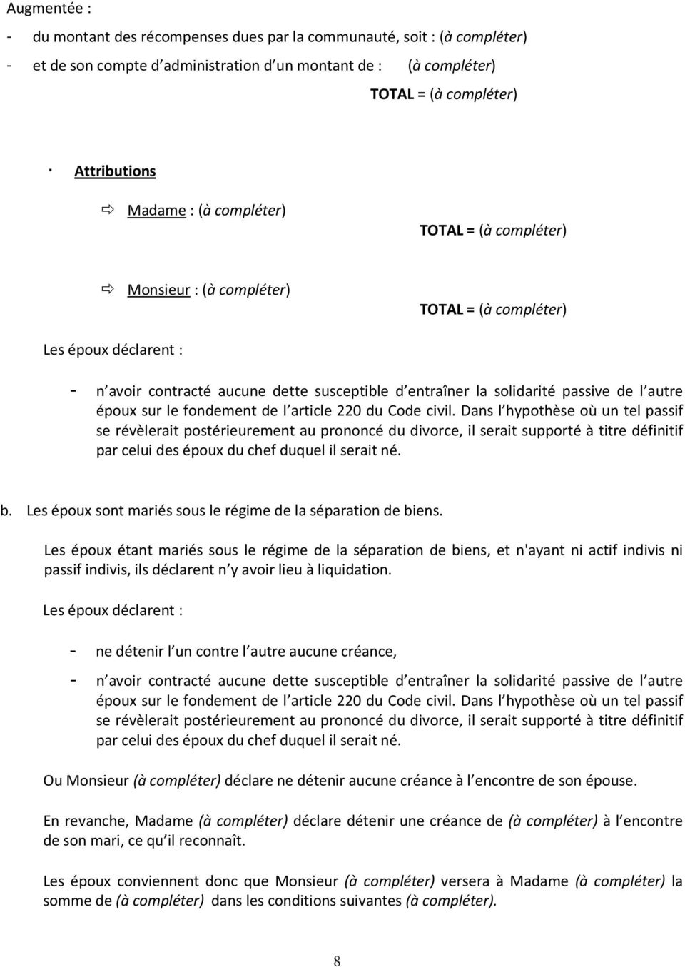 Convention Portant Reglement Complet Des Effets Du Divorce Pdf