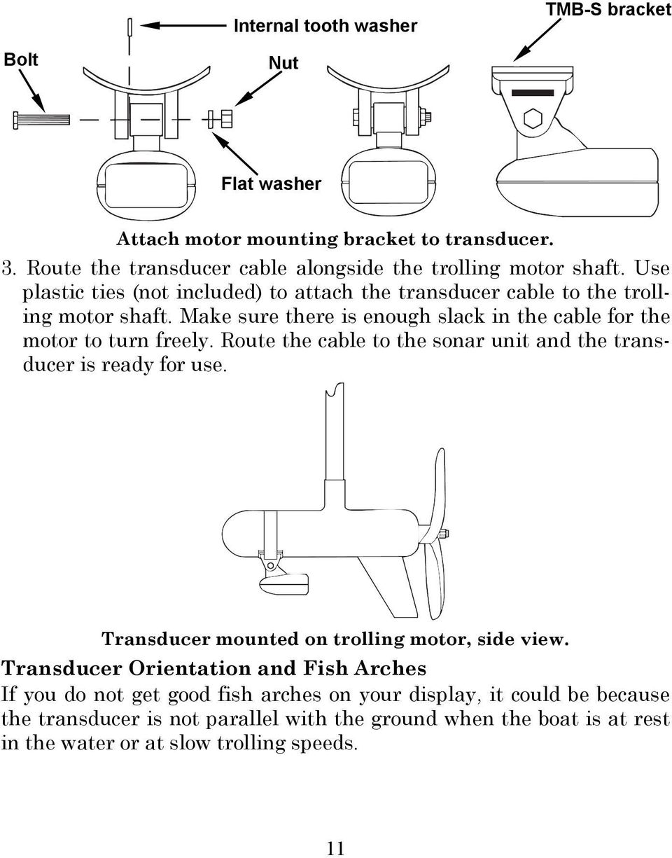 Route the cable to the sonar unit and the transducer is ready for use.  Transducer