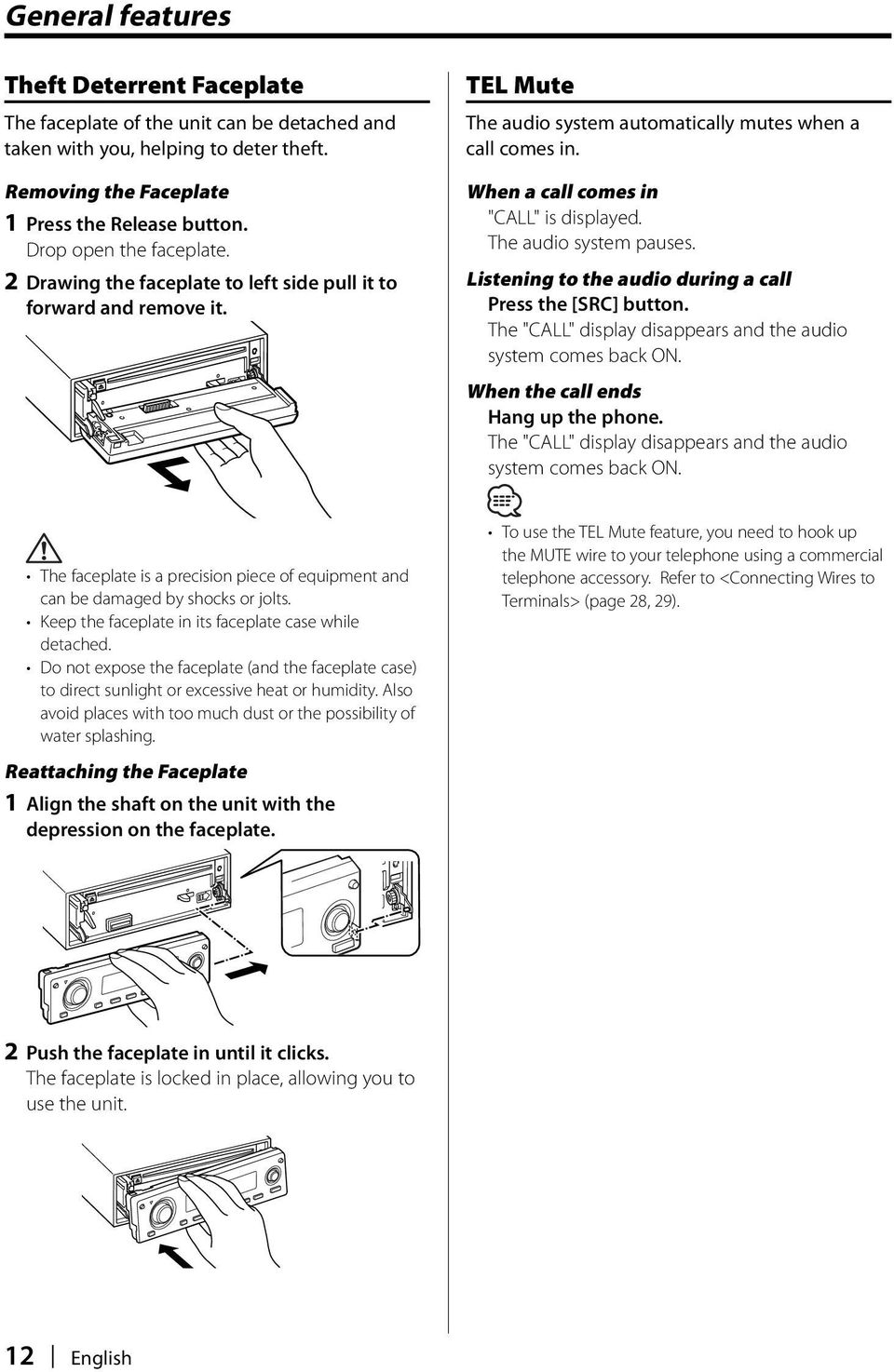 Kdc Mp4032 Mp332 Pdf Kenwood Wiring Diagram When A Call Comes In Is Displayed The Audio System Pauses
