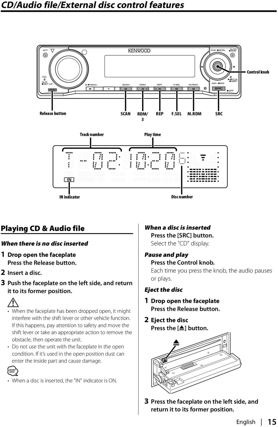 Kdc Mp4032 Mp332 Pdf Kenwood Wiring Diagram 3 Push The Faceplate On Left Side And Return It To Its Former Position