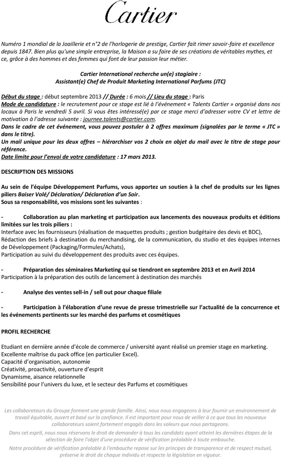 Un eStagiaireAssistant Recherche Cartier International eChef c1lKTJF3