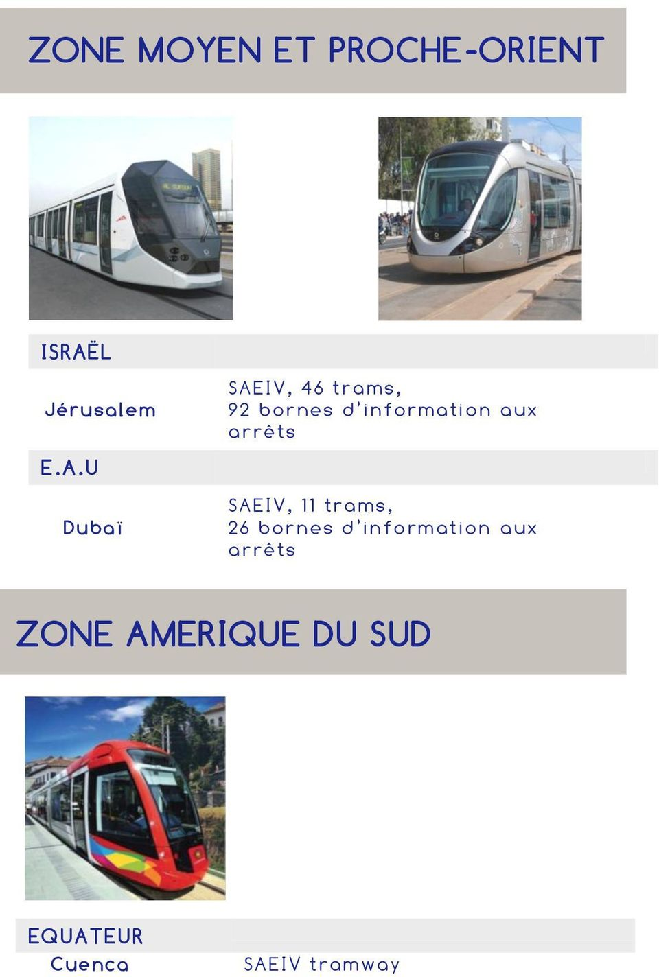 U Dubaï SAEIV, 46 trams, 92 bor nes d in form ati on a