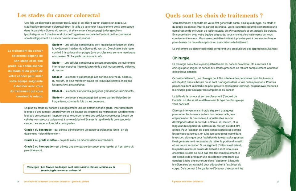 d autres endroits de l organisme au-delà de l endroit où il a commencé son développement. Le cancer colorectal a cinq stades : Le traitement du cancer colorectal dépend de son stade et de son grade.