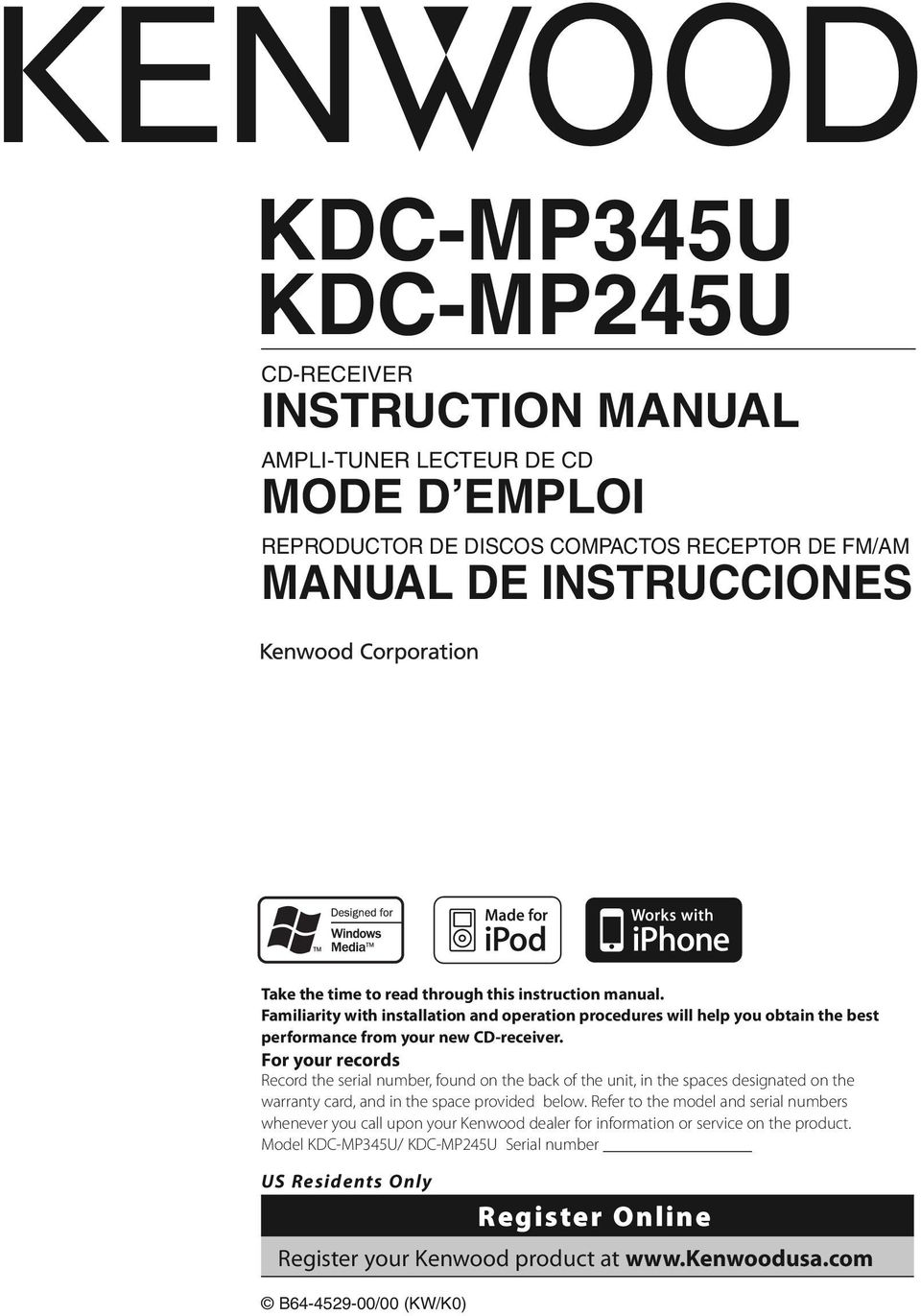 Kdc Mp345u Mp245u Pdf Kenwood Mp338 Wiring Diagram Colors For Your Records Record The Serial Number Found On Back Of Unit