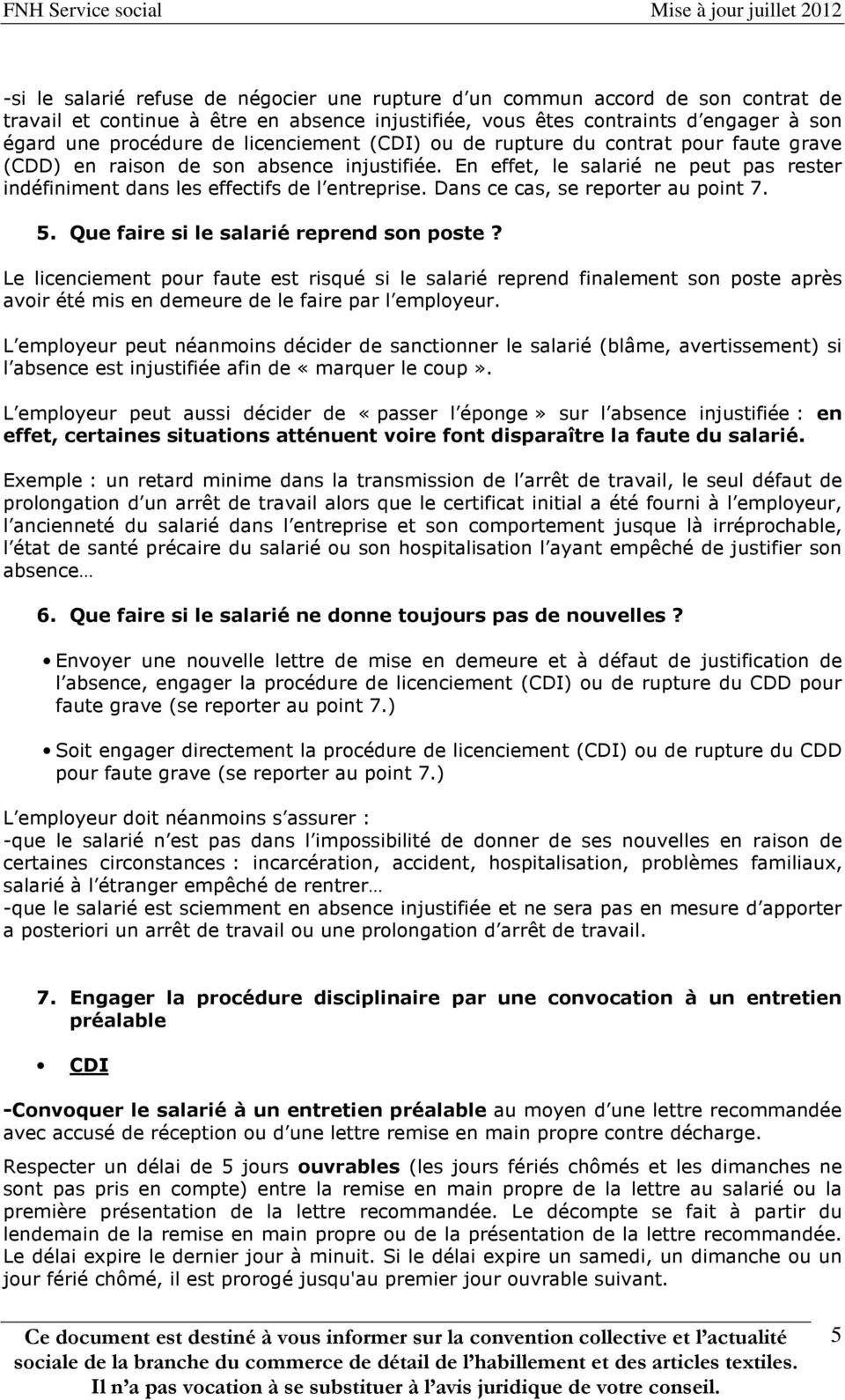 Comment Reagir Face A Une Absence Injustifiee Du Salarie Pdf