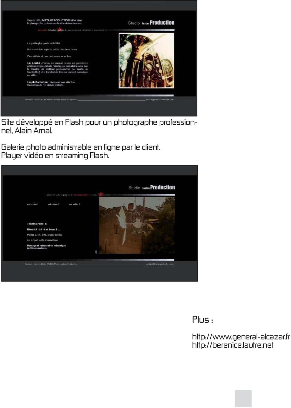 Galerie photo administrable en ligne par le client.