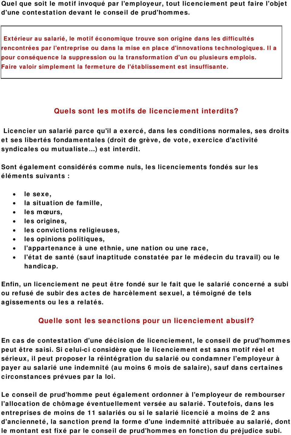 Le Licenciement Motifs Procedures Et Indemnites Pdf