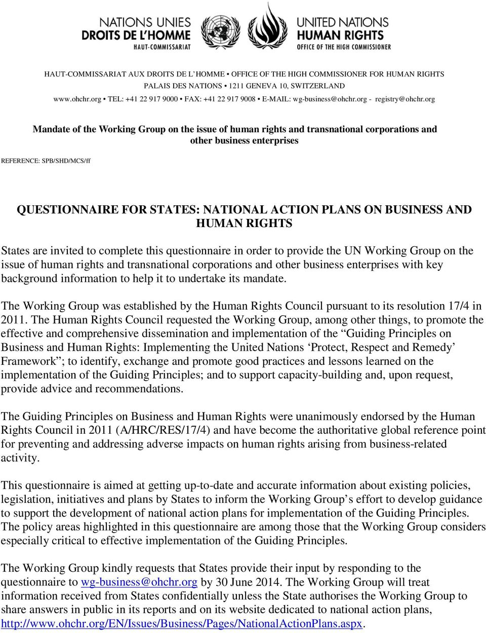 org Mandate of the Working Group on the issue of human rights and transnational corporations and other business enterprises REFERENCE: SPB/SHD/MCS/ff QUESTIONNAIRE FOR STATES: NATIONAL ACTION PLANS