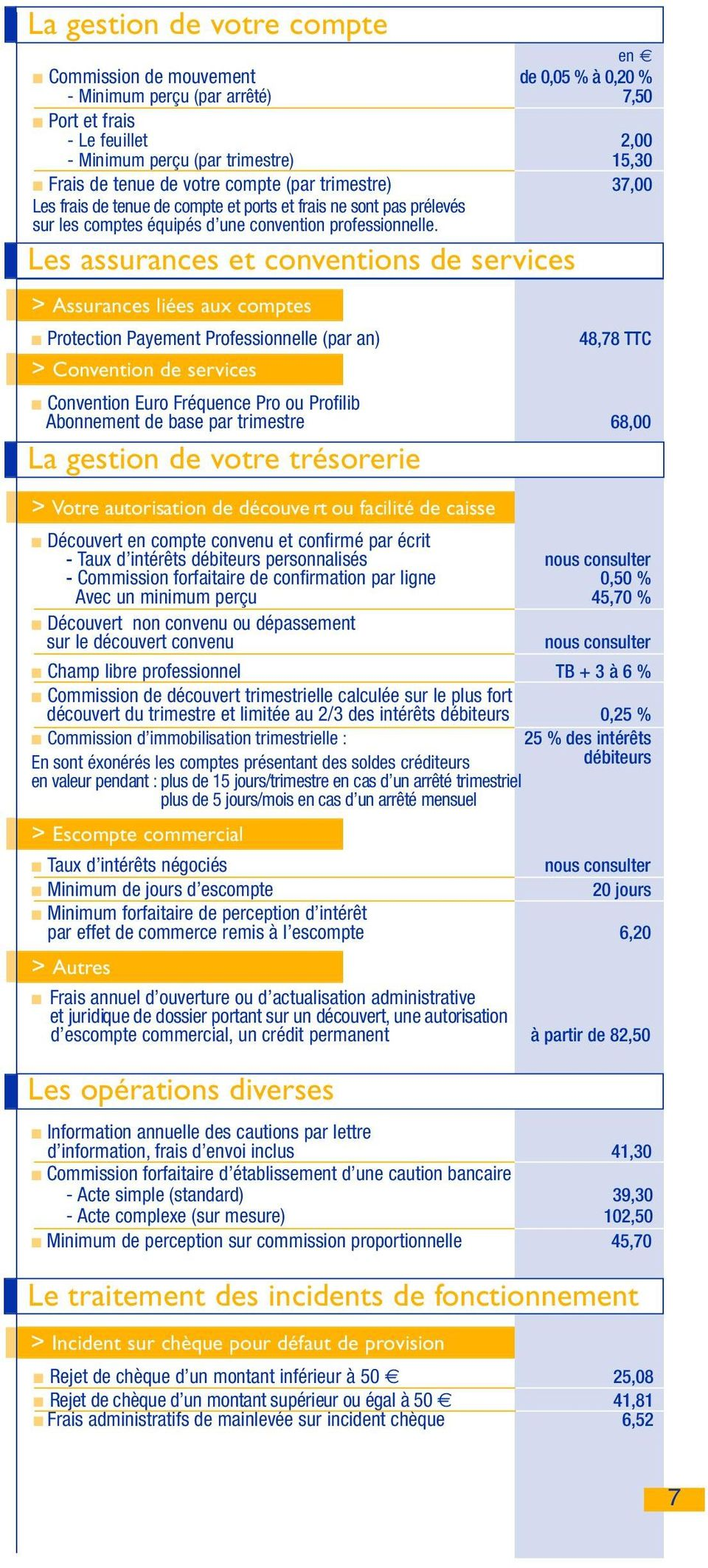 Les assurances et conventions de services > Assurances liées aux comptes Protection Payement Professionnelle (par an) > Convention de services 48,78 TTC Convention Euro Fréquence Pro ou Profilib