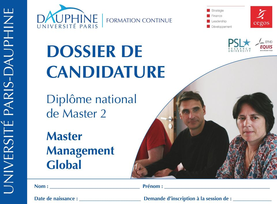 Master 2 Master Management Global Nom : Prénom :