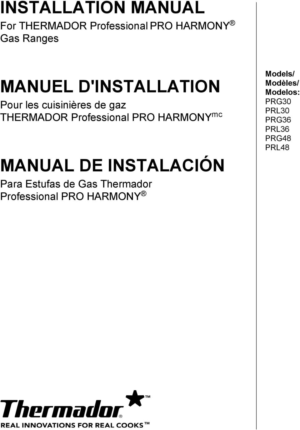 INSTALLATION MANUAL For THERMADOR Professional PRO HARMONY Gas ... on