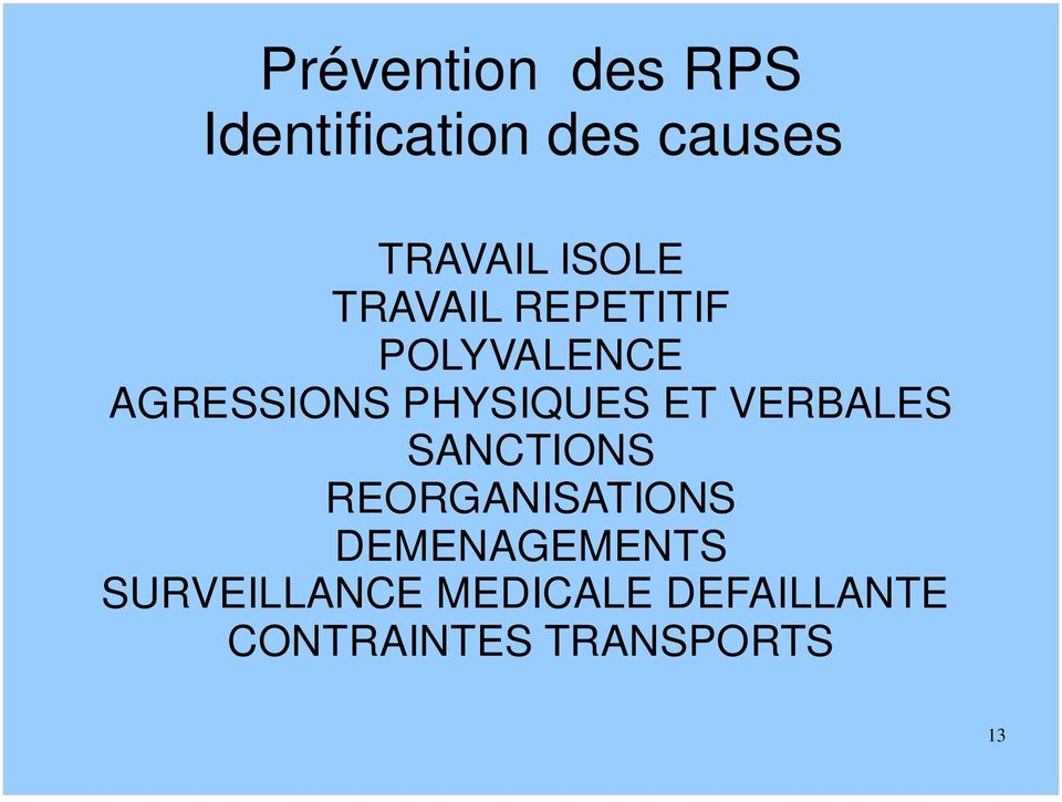 PHYSIQUES ET VERBALES SANCTIONS REORGANISATIONS