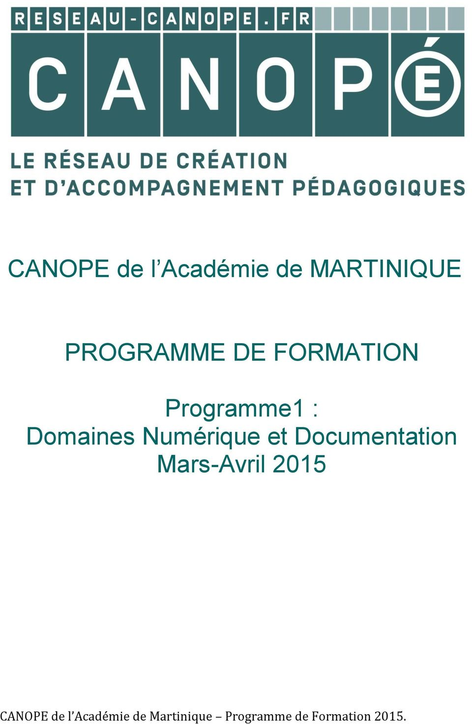 FORMATION Programme1 :
