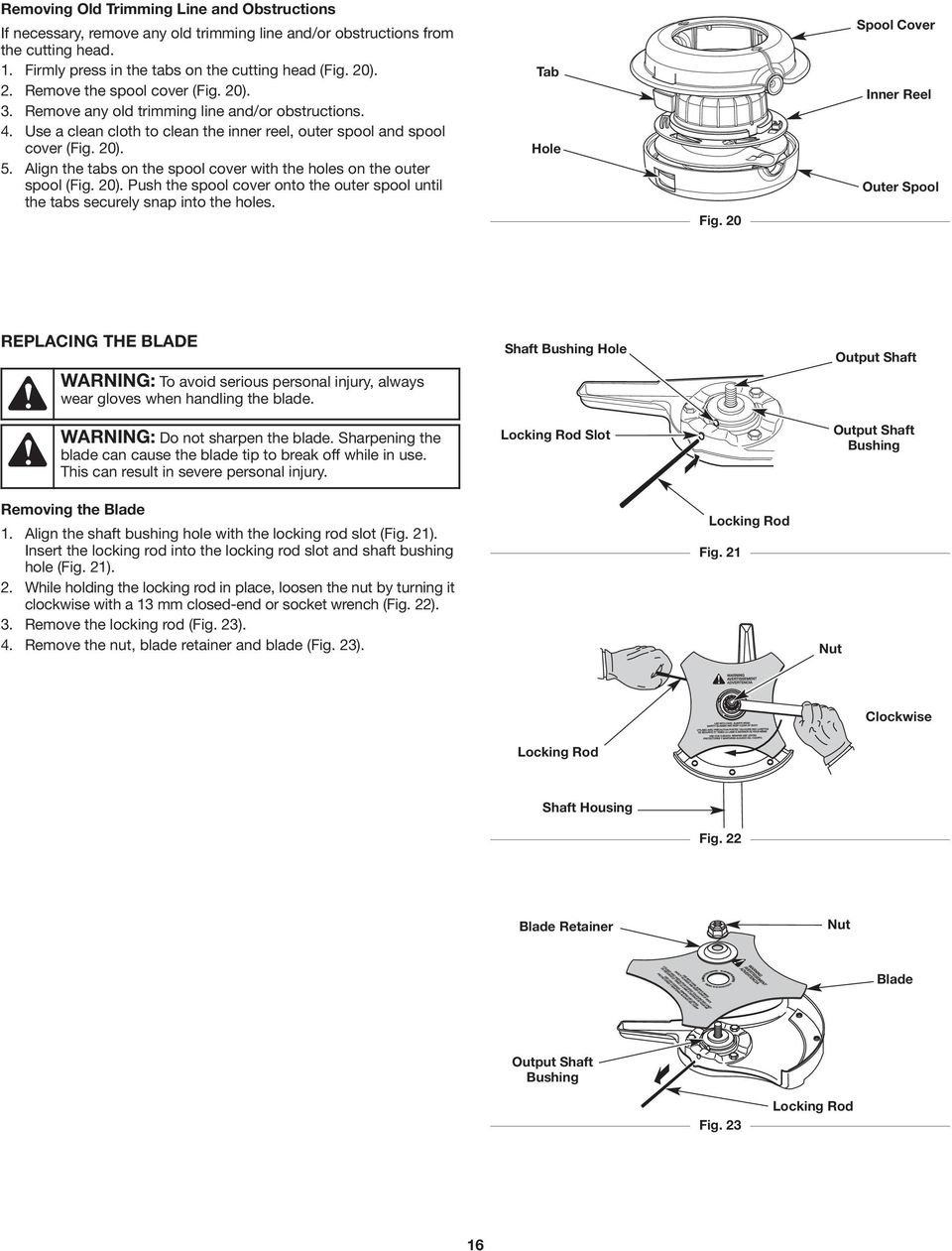 operator s manual bc490 save these instructions 4 cycle trimmer  align the tabs on the spool cover with the holes on the outer spool (fig