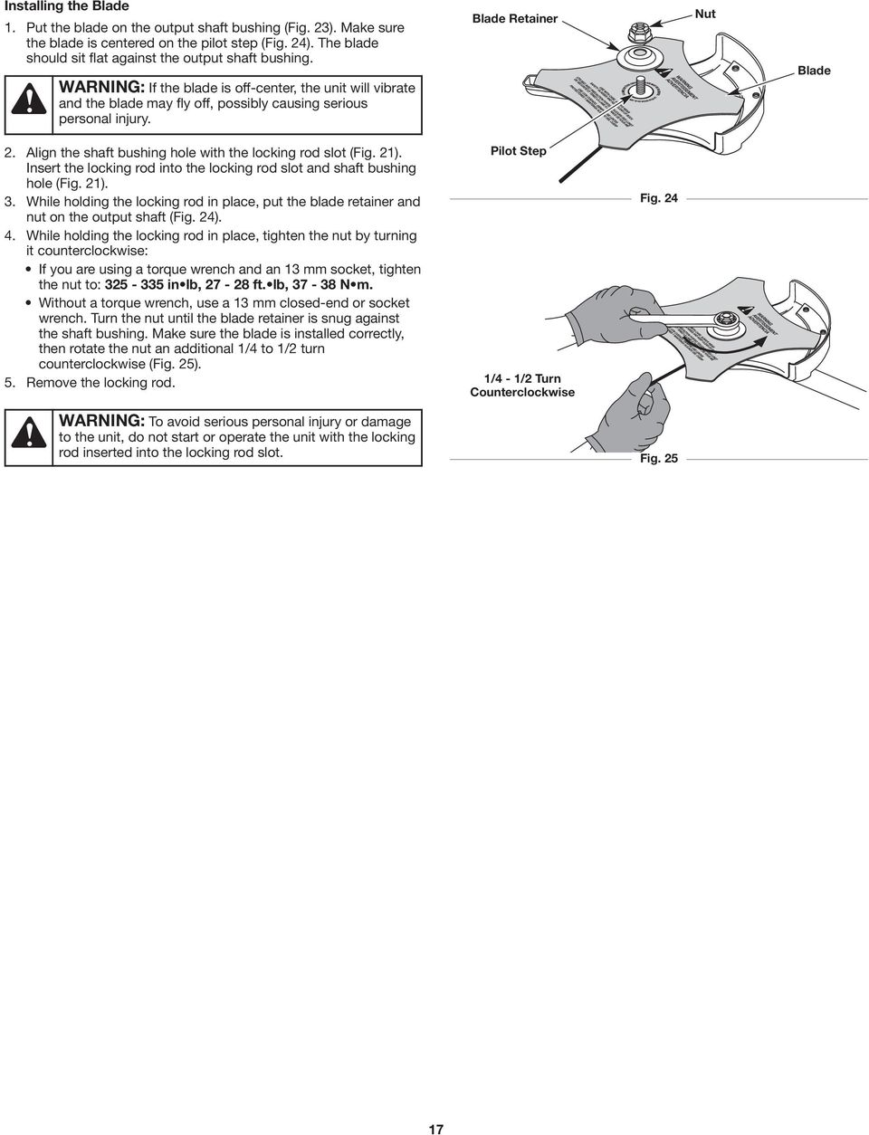 operator s manual bc490 save these instructions 4 cycle trimmer  align the shaft bushing hole with the locking rod slot (fig 21)