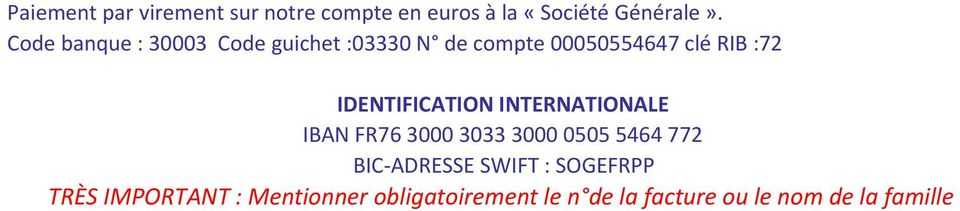 IDENTIFICATION INTERNATIONALE IBAN FR76 30003033300005055464772 BIC-ADRESSE SWIFT