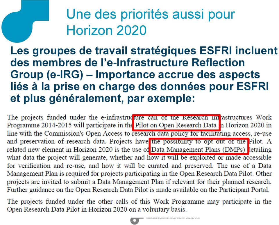 Reflection Group (e-irg) Importance accrue des aspects liés à la