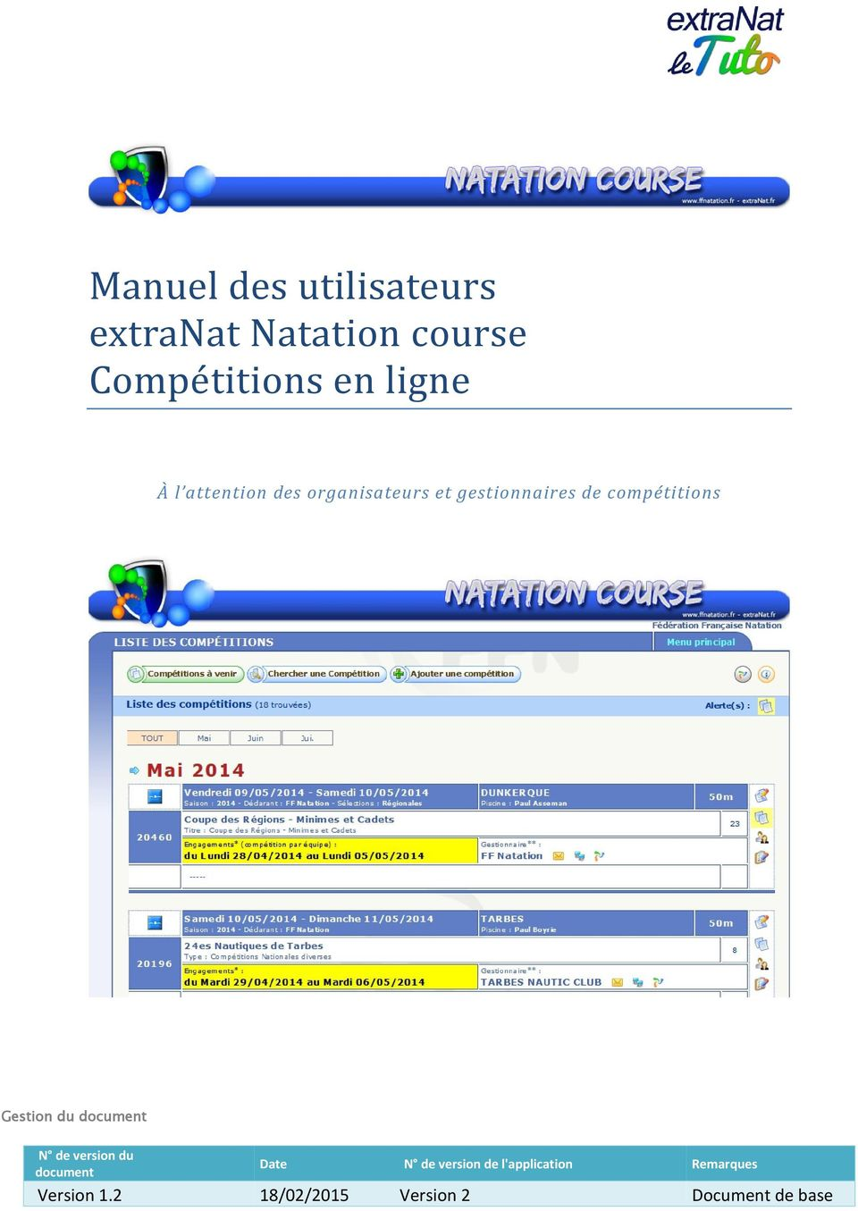 compétitions Gestion du document N de version du document Date N de