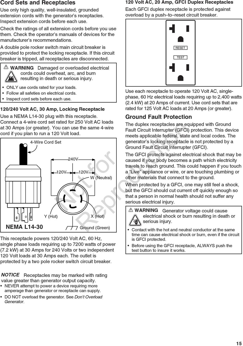 Portable Generator Operator S Manual Pdf 120 And 240 Volt Receptacles How To Install A Switch Or Receptacle Double Pole Rocker Main Circuit Breaker Is Provided Protect The Locking