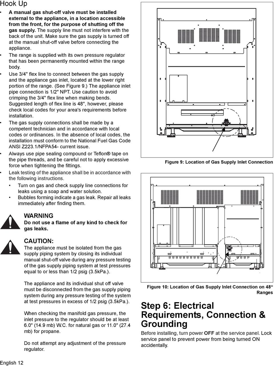 Installation Manual Manuel Dinstallation De Instalacin For Propane Electric Refrigerator Wiring Schematic The Range Is Supplied With Its Own Pressure Regulator That Has Been Permanently Mounted Within 15 Model Type Chart B Electrical Supply Circuit