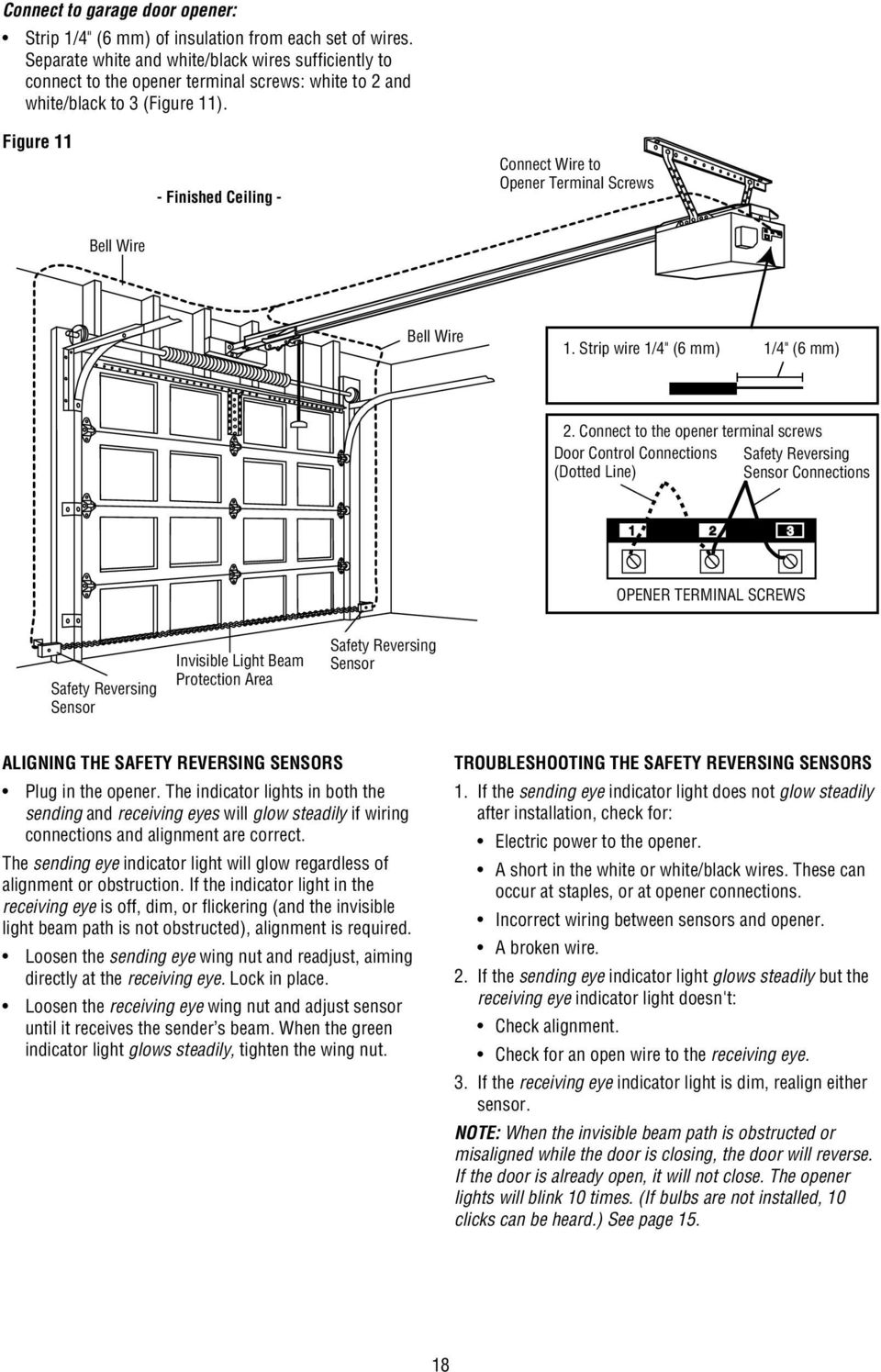 Commercial Door Opener Model Ats 2113x 1 2 Hp Pdf Garage Light Wiring Diagram For Safety Figure 11 Finished Ceiling Connect Wire To Terminal Screws Bell