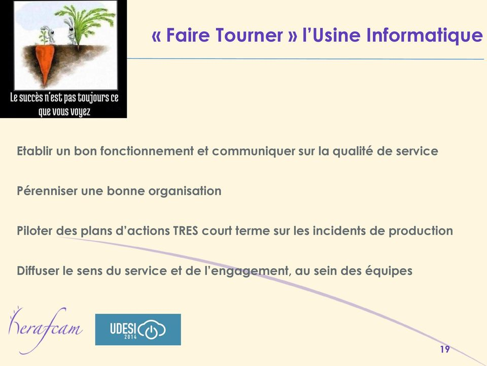Piloter des plans d actions TRES court terme sur les incidents de
