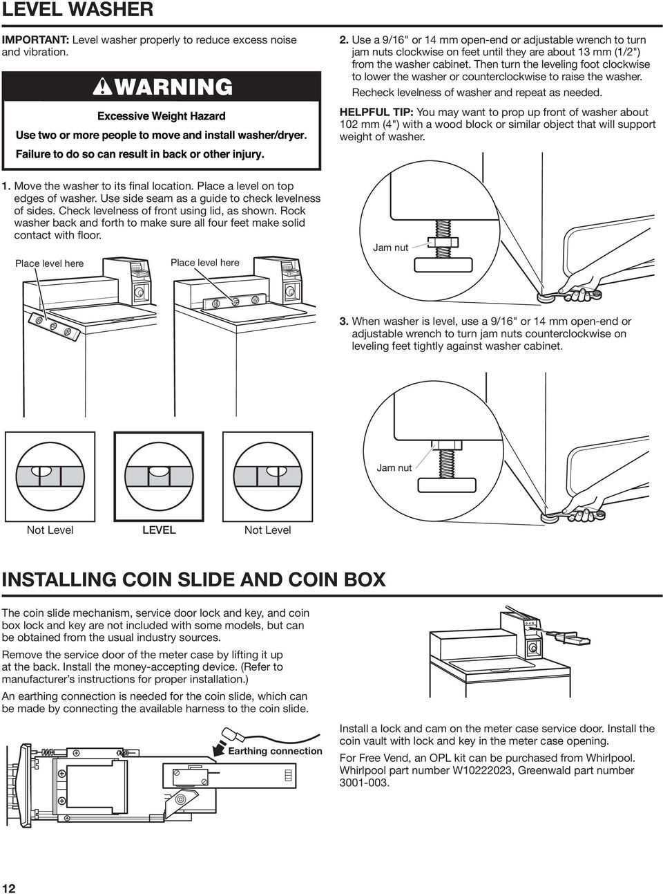 INSTALLATION INSTRUCTIONS Commercial Washer INSTRUCTIONS D