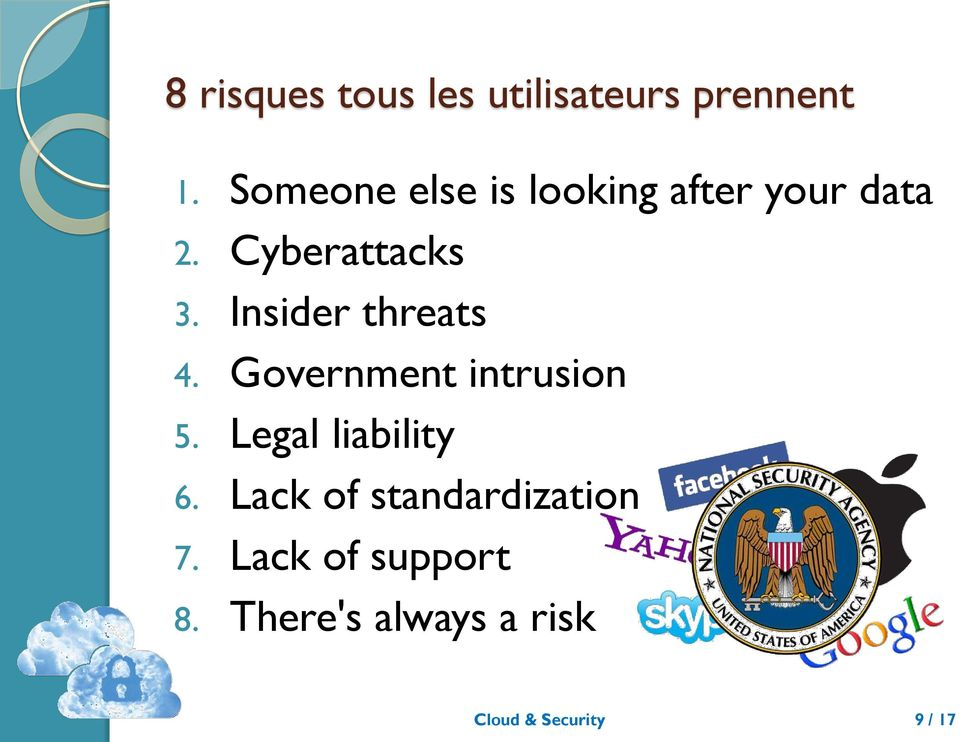 Insider threats 4. Government intrusion 5. Legal liability 6.