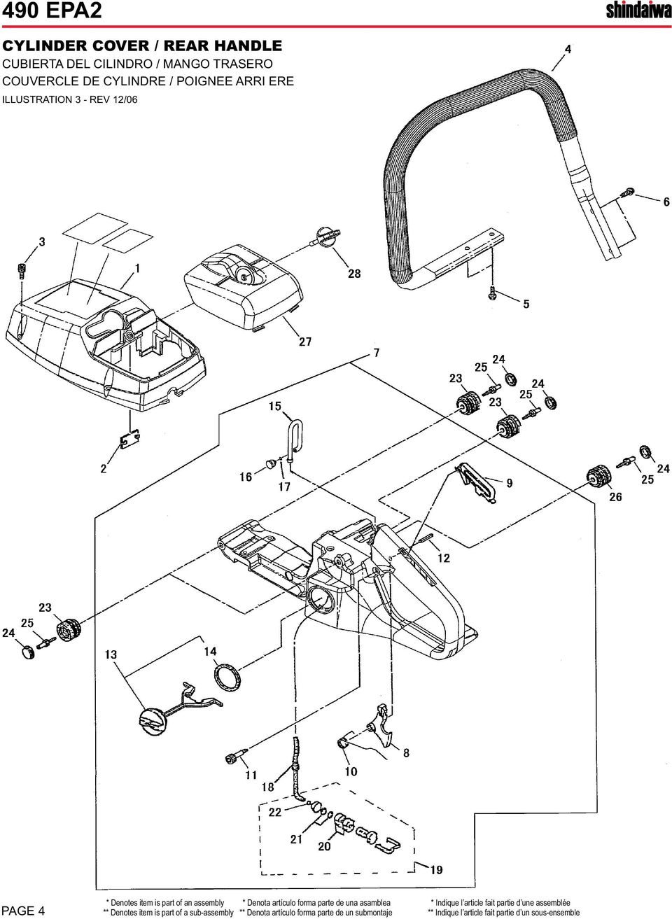PAGE 4 ** Denotes item is part of a sub-assembly ** Denota artículo