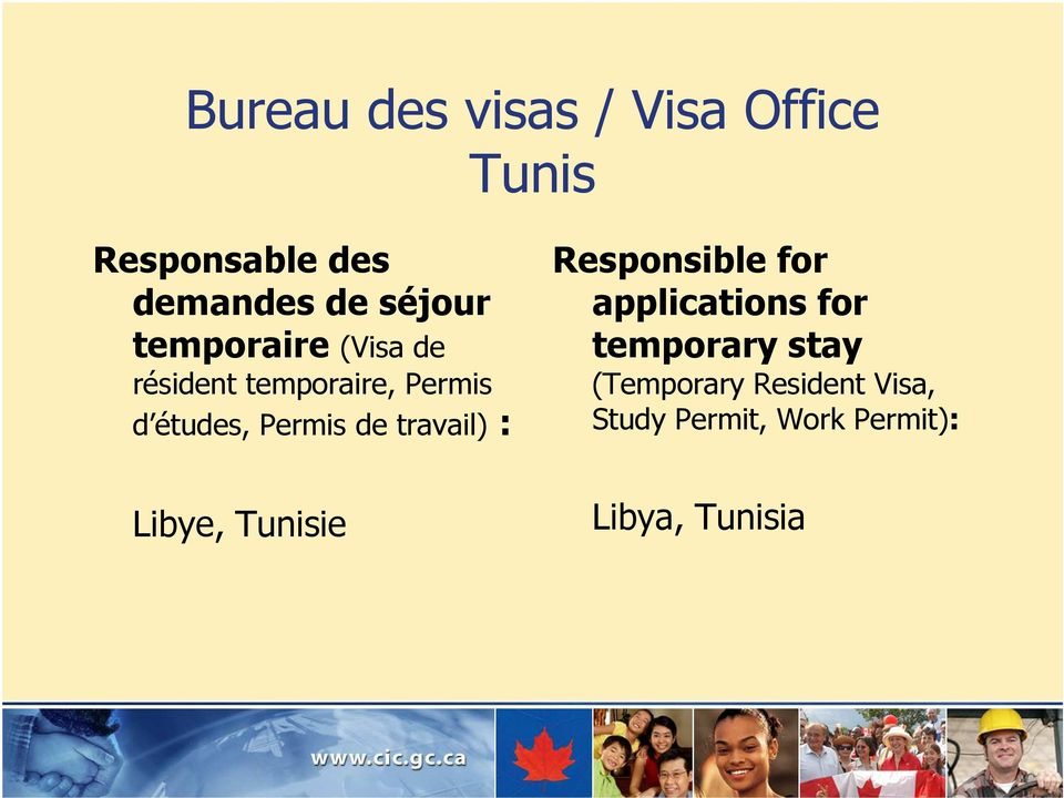 Permis de travail) : Responsible for applications for temporary stay