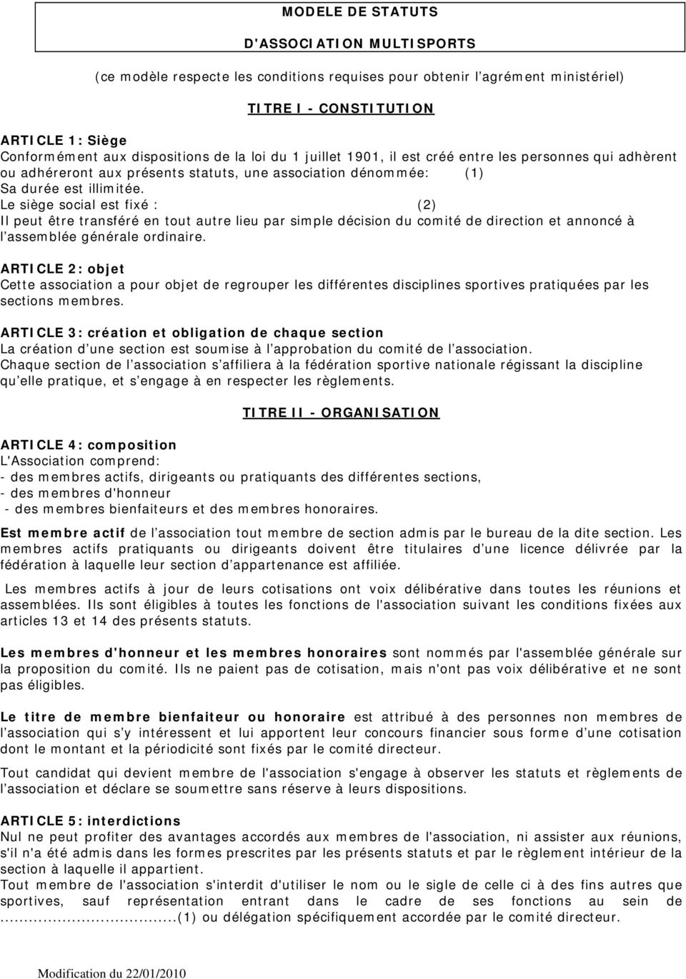 Modele De Statuts D Association Multisports Ce Modele Respecte Les Conditions Requises Pour Obtenir L Agrement Ministeriel Titre I Constitution Pdf Telechargement Gratuit