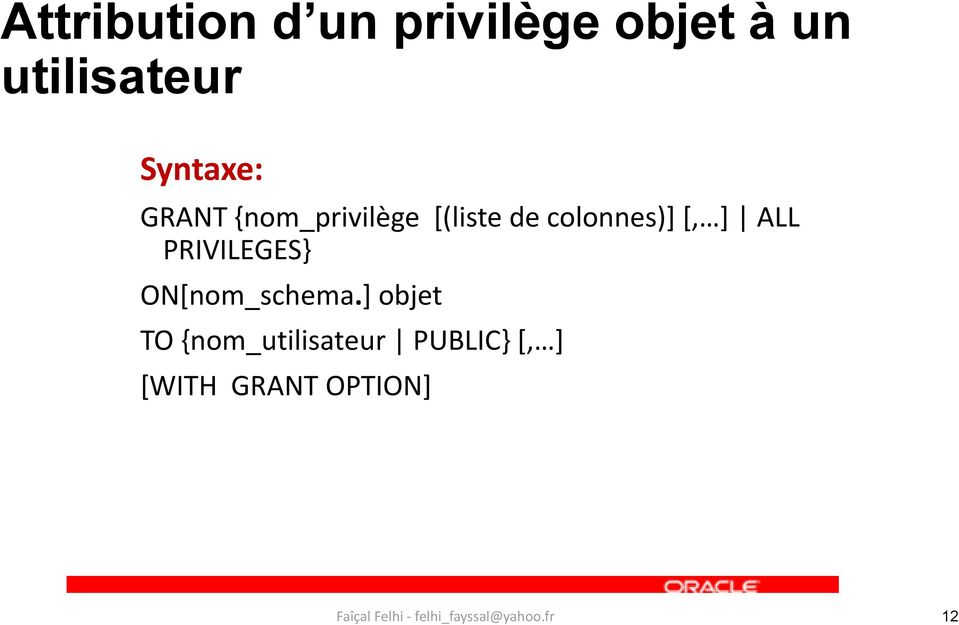 colonnes)+ *, + ALL PRIVILEGES} ON[nom_schema.