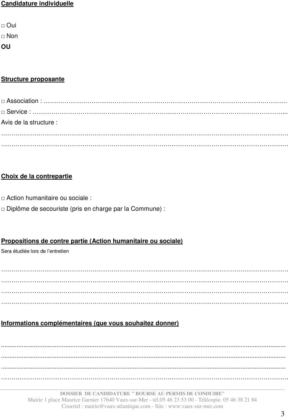 secouriste (pris en charge par la Commune) : Propositions de contre partie (Action humanitaire