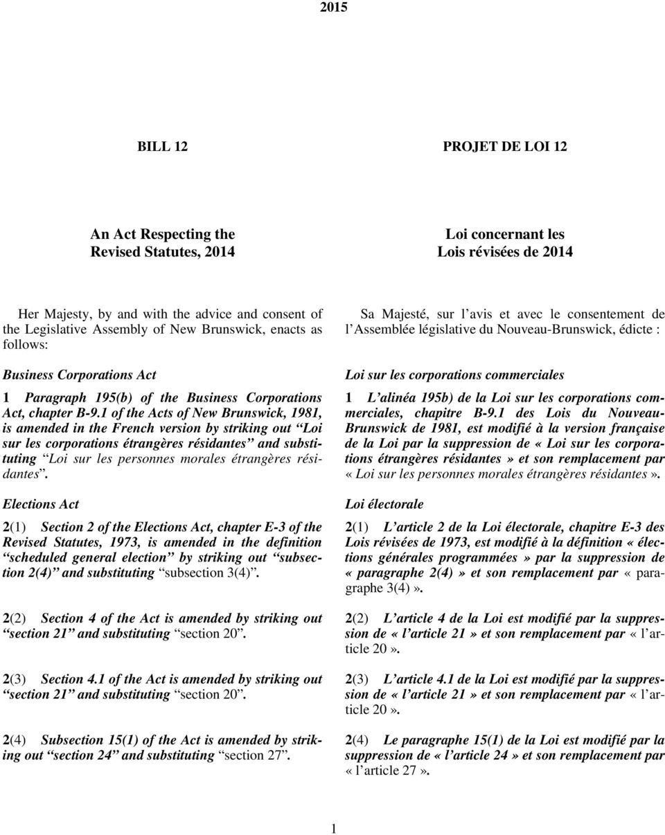 1 of the Acts of New Brunswick, 1981, is amended in the French version by striking out Loi sur les corporations étrangères résidantes and substituting Loi sur les personnes morales étrangères
