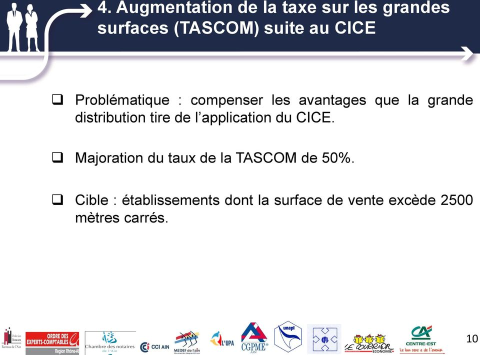 tire de l application du CICE. Majoration du taux de la TASCOM de 50%.