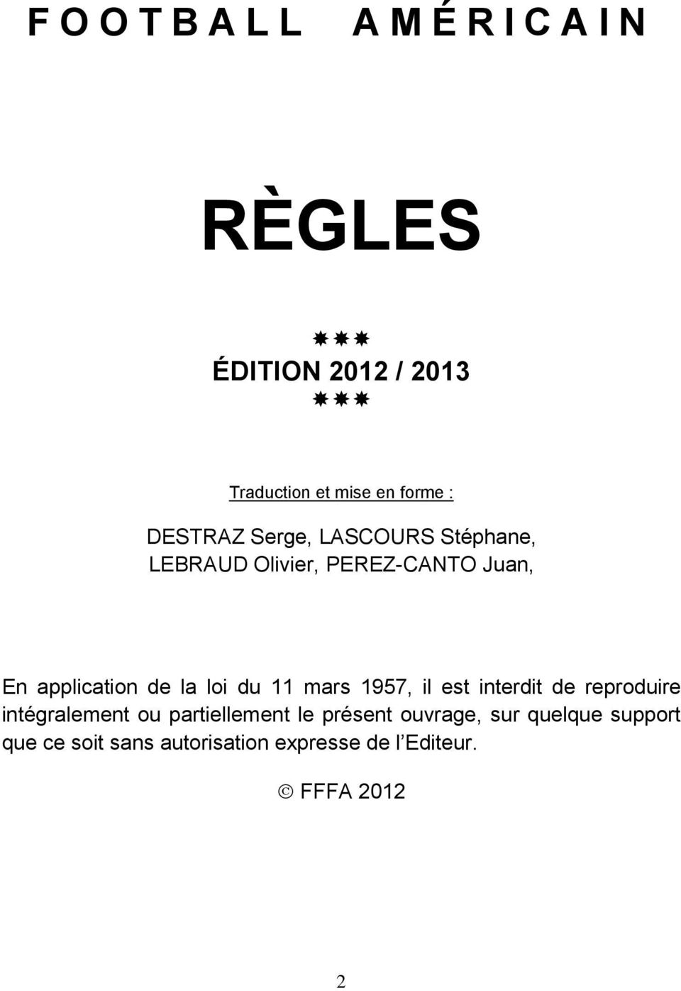 Regles Football Americain Edition 2012 Pdf