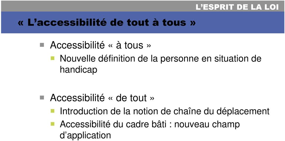 handicap Accessibilité «de tout» Introduction de la notion de