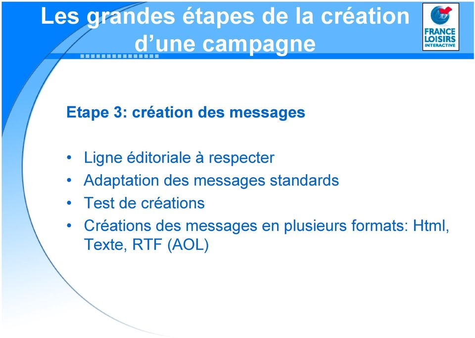 Adaptation des messages standards Test de créations