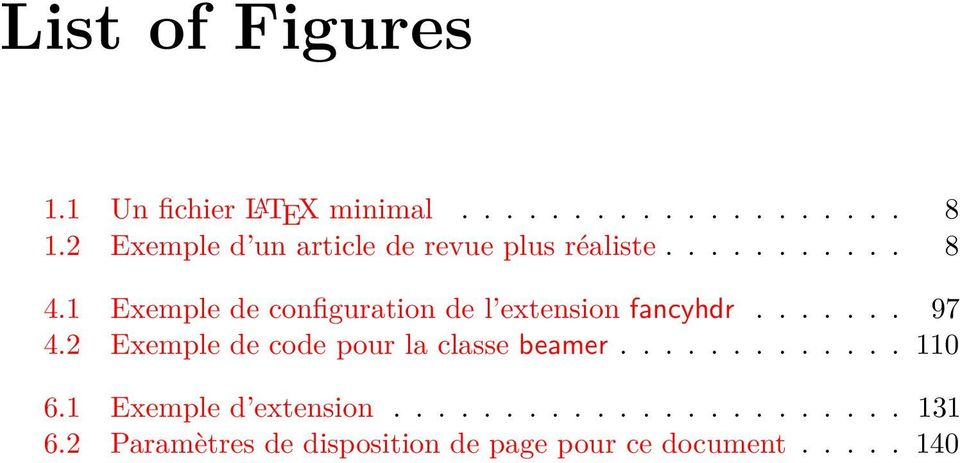 1 Exemple de configuration de l extension fancyhdr....... 97 4.