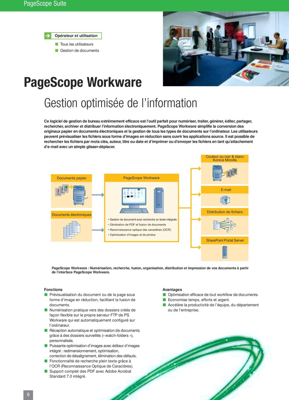 PageScope Workware simplifie la conversion des originaux papier en documents électroniques et la gestion de tous les types de documents sur l ordinateur.