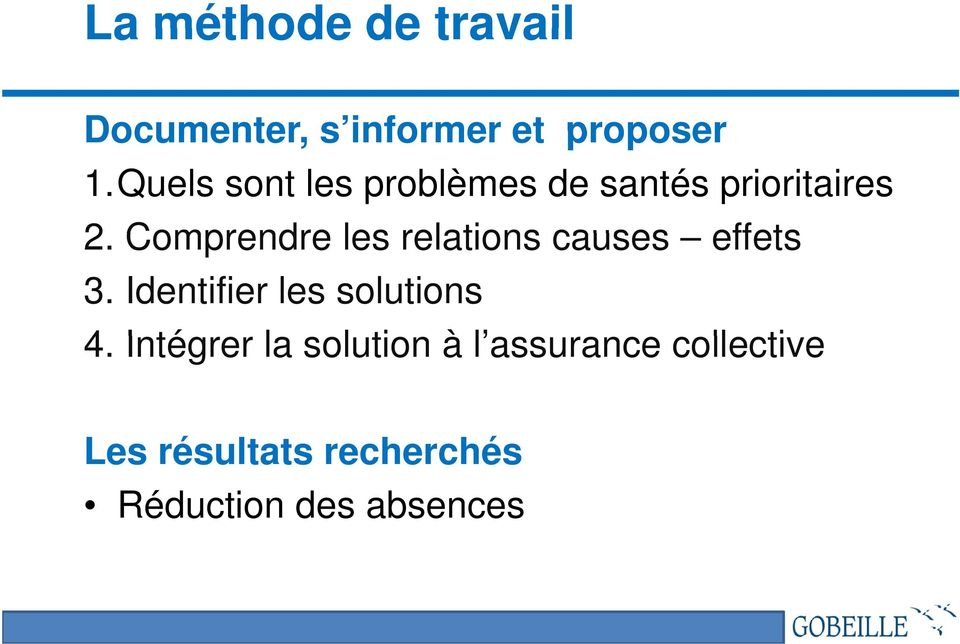 Comprendre les relations causes effets 3. Identifier les solutions 4.