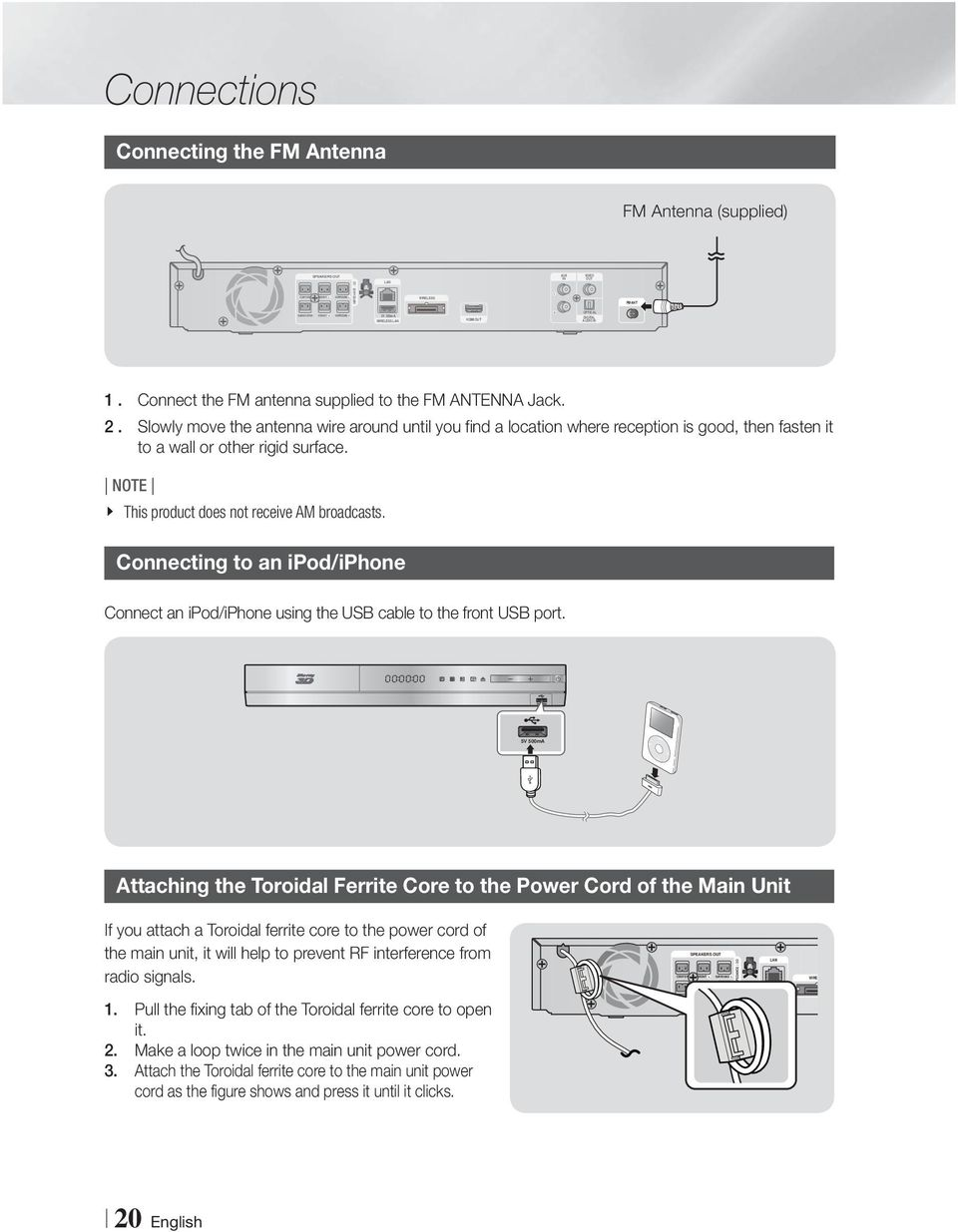 51ch Blu Ray Home Entertainment System Pdf Iphone Usb Cable Wiring Diagram Plug Slowly Move The Antenna Wire Around Until You Find A Location Where Reception Is Good