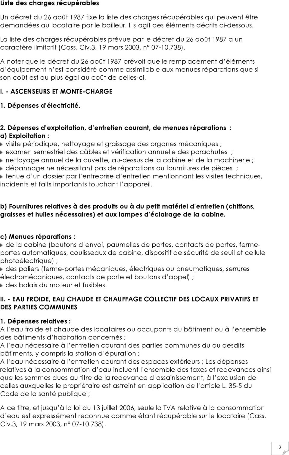 Charges Charges Recuperables Et Reparations Locatives Pdf