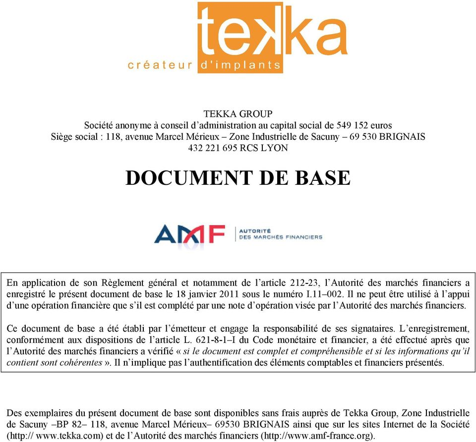6479bfb4156ba8 NOTE Document de Base Société Tekka Group Tekka Comptes AMF - PDF